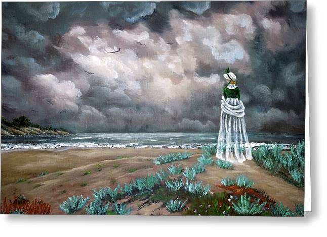 A Stroll Upon The Dunes Greeting Card by Laura Iverson
