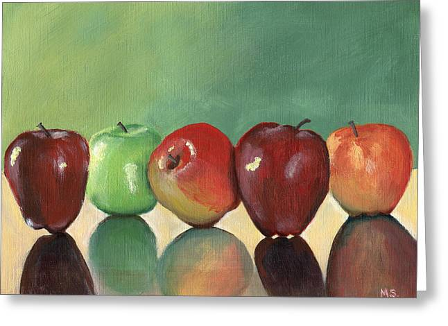A Study Of Apples Greeting Card by Michelle Sheppard
