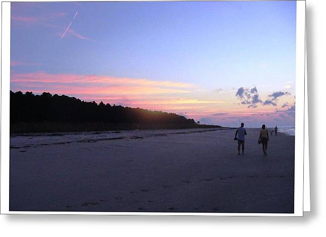 Greeting Card featuring the photograph A Sunrise Stroll On The Beach by Frank Wickham