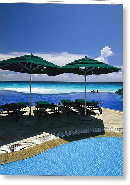 A Swimming Pool Overlooks The Caribbean Greeting Card