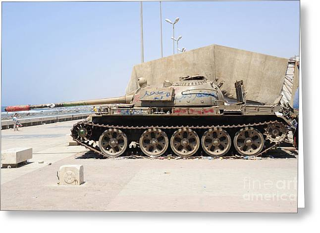A T-55 Tank On The Seafront Greeting Card by Andrew Chittock