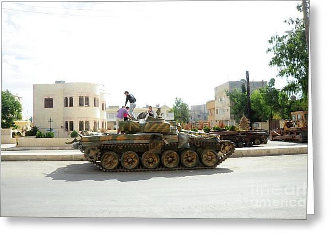 A T-72 Main Battle Tank On The Streets Greeting Card by Andrew Chittock