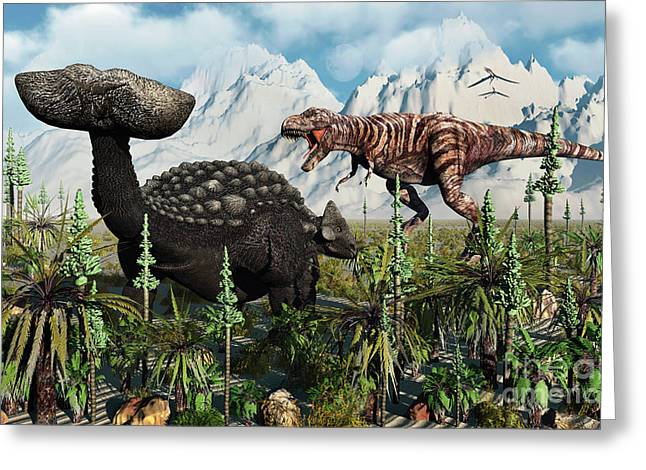 A T. Rex Confronts An Ankylosaurus Greeting Card