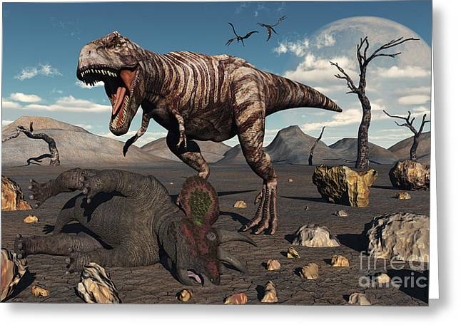 A T. Rex Is About To Make A Meal Greeting Card by Mark Stevenson
