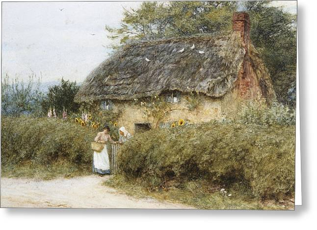 A Thatched Cottage Near Peaslake Surrey Greeting Card