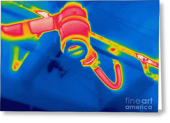 A Thermogram Of A Sink Drain Greeting Card by Ted Kinsman
