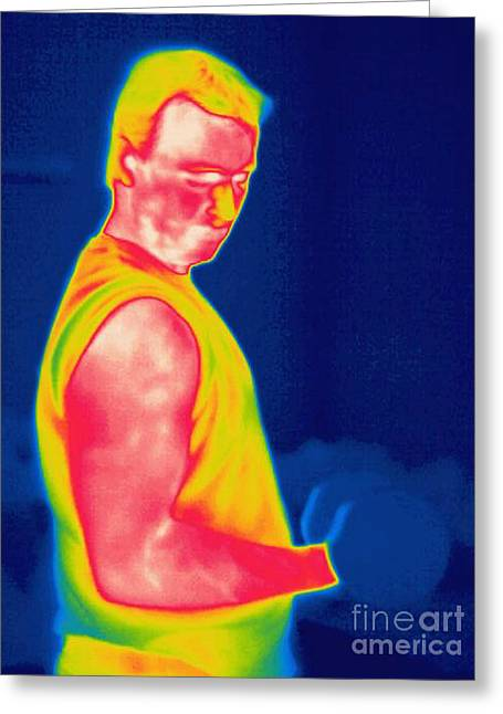 A Thermogram Of A Weight Lifter Greeting Card by Ted Kinsman