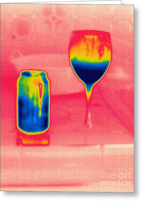 A Thermogram Of Cool Wine And Cool Soda Greeting Card by Ted Kinsman