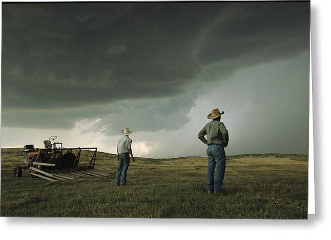 A Thunderstorm Halts Haying As Two Greeting Card