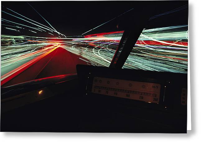 A Time Exposure Showing Streaks Greeting Card by Paul Chesley