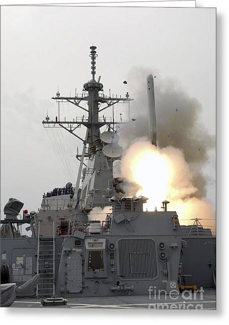 A Tomahawk Missile Launch Aboard Uss Greeting Card