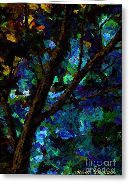Greeting Card featuring the painting A Touch Of Blue by Steven Lebron Langston