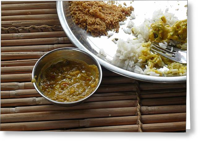 A Typical Plate Of Indian Rajasthani Food On A Bamboo Table Greeting Card by Ashish Agarwal