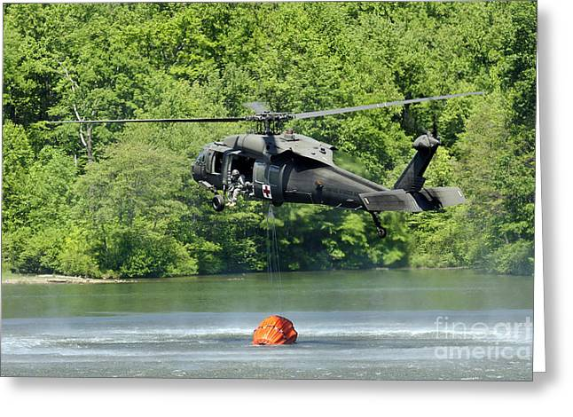 A Uh-60 Blackhawk Helicopter Fills Greeting Card by Stocktrek Images
