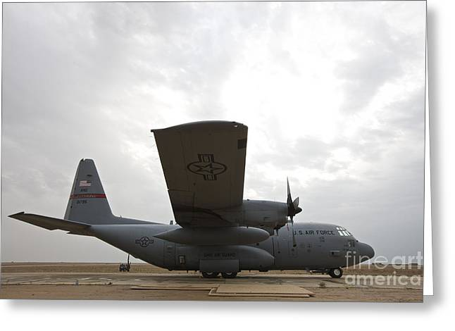 A U.s. Air Force C-130 Hercules Greeting Card by Terry Moore