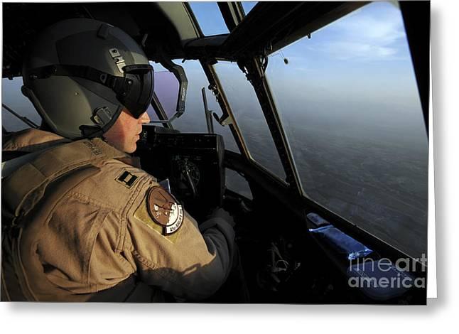 A U.s. Air Force C-130j Hercules Pilot Greeting Card by Stocktrek Images