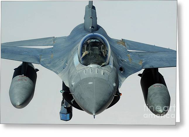 A U.s. Air Force F-16cj Fighting Falcon Greeting Card by Stocktrek Images