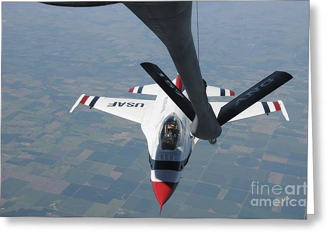 A U.s. Air Force Thunderbird Pilot Greeting Card by Stocktrek Images