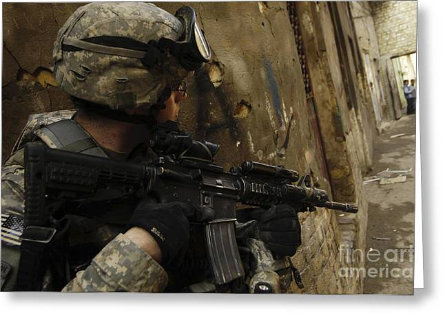A U.s. Army Soldier Providing Security Greeting Card by Stocktrek Images