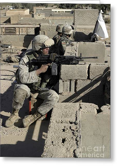 A U.s. Marine And Iraqi Army Soldiers Greeting Card by Stocktrek Images