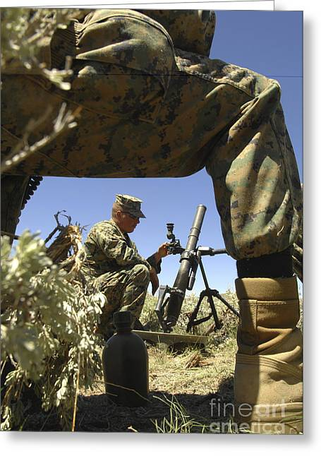 A U.s. Marine Mortarman Trains On An Greeting Card by Stocktrek Images