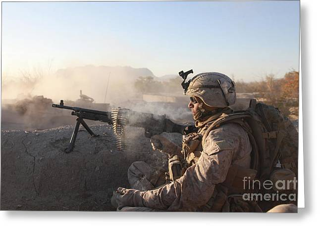 A U.s. Marine Provides Support By Fire Greeting Card by Stocktrek Images