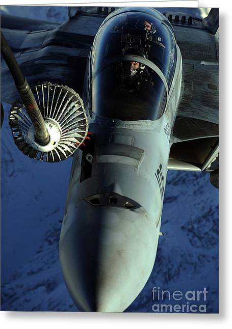 A U.s. Navy F-18 Hornet Is Refueled Greeting Card by Stocktrek Images