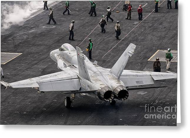 A Us Navy Fa-18c Hornet On The Flight Greeting Card