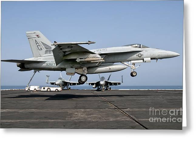 A Us Navy Fa-18e Super Hornet Prepares Greeting Card
