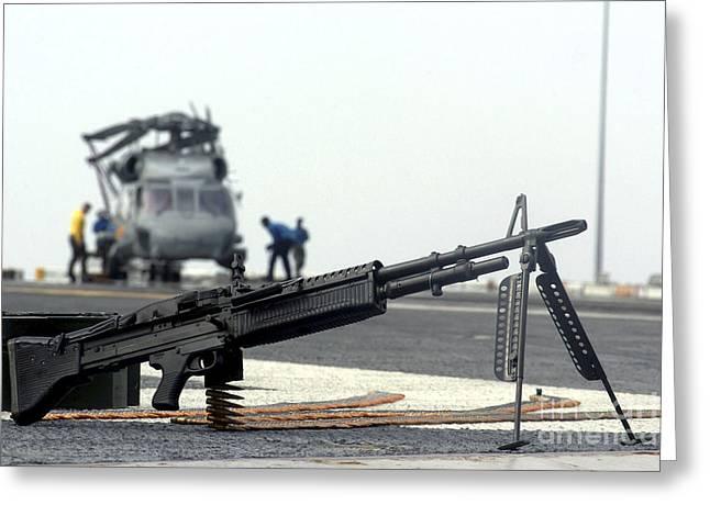 A U.s. Navy Saco 7.62 Mm M60 Machine Greeting Card