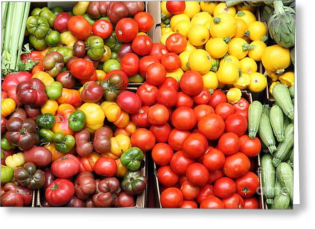 A Variety Of Fresh Tomatoes Artichokes And Celeries - 5d17901-long Greeting Card