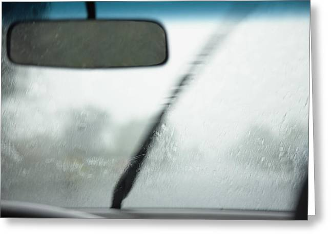 A View From Inside A Car Of The Monsoon Greeting Card by Roberto Westbrook