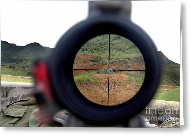 A View Looking Down Range On Target Greeting Card by Stocktrek Images