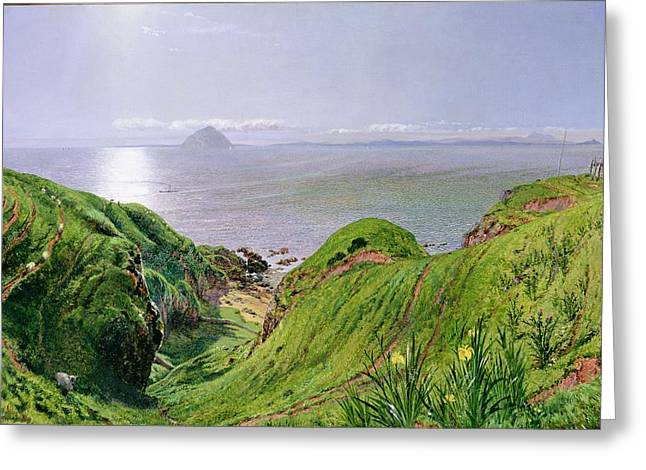 A View Of Ailsa Craig And The Isle Of Arran Greeting Card by William Bell Scott
