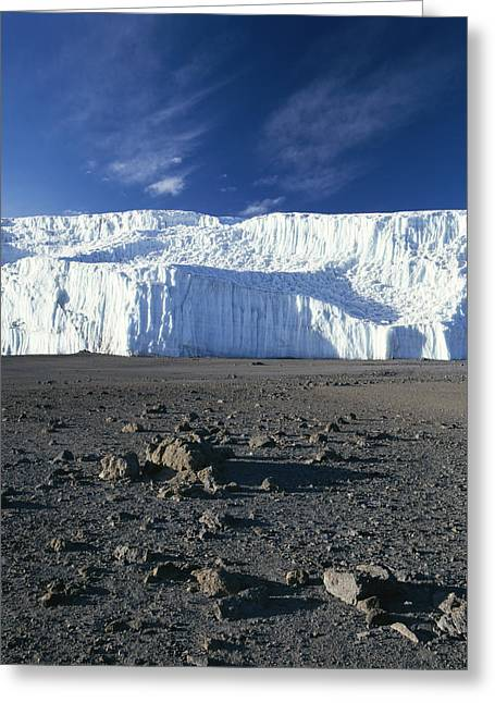 A View Of Mount Kilimanjaros Summit Greeting Card by David Pluth