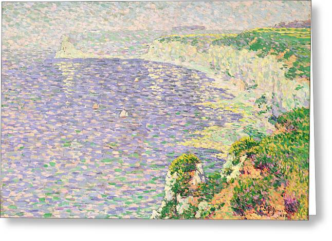 A View Of The Cliffs Of Etretat Greeting Card by Claude Emile Schuffenecker