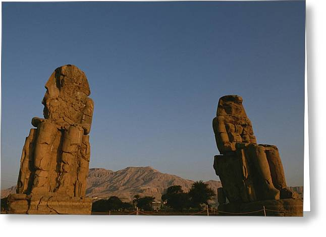 A View Of The Crumbling Colossi Greeting Card by Kenneth Garrett