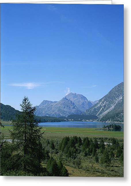 A View Of The Engadin Valley Outside St Greeting Card by Taylor S. Kennedy