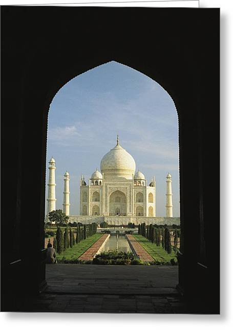 A View Of The Taj Mahal Framed Greeting Card by Ed George