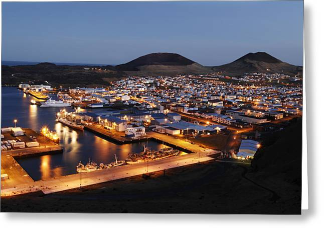 A View Of Vestmannaeyjar Harbor Greeting Card by Randy Olson