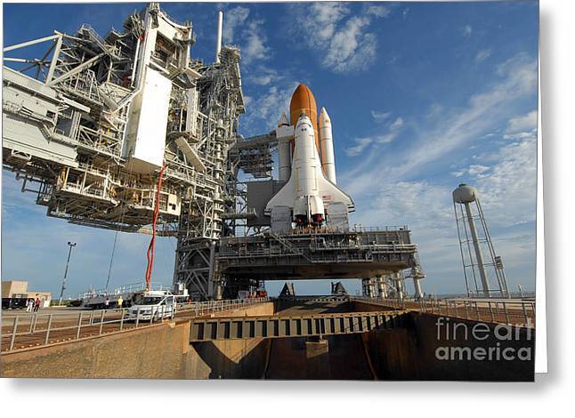 A View Space Shuttle Atlantis On Launch Greeting Card by Stocktrek Images