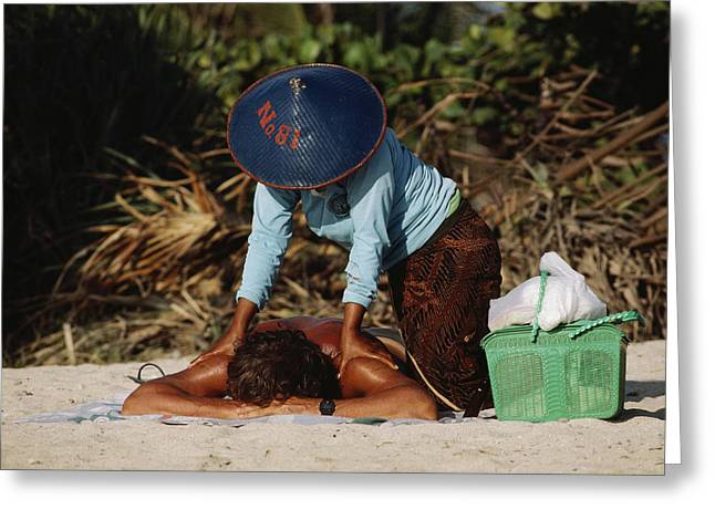 A Visitor Relaxes With A Massage Greeting Card