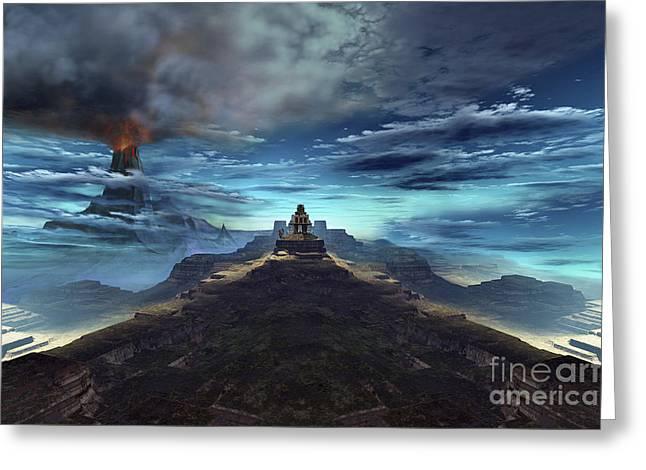 A Volcano Erupts Near An Ancient Mayan Greeting Card