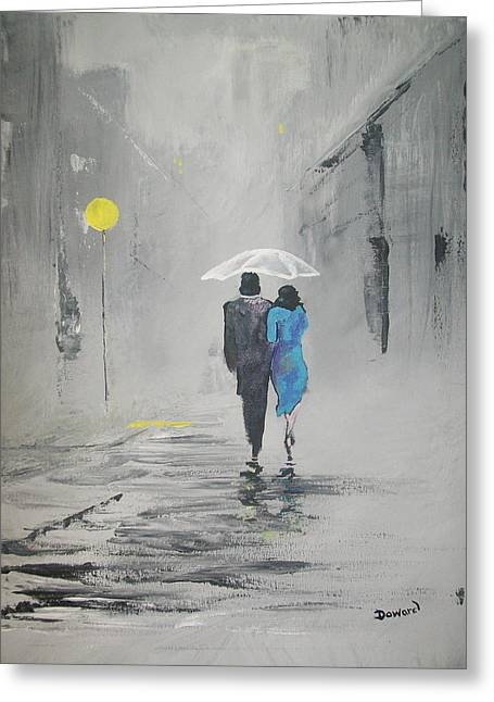 Greeting Card featuring the painting A Walk In The Rain by Raymond Doward