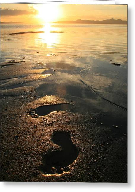 A Walk In The Sand Greeting Card by Gene Praag