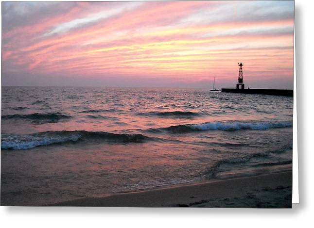 A Walk On Pentwater Beach Greeting Card by Penny Hunt