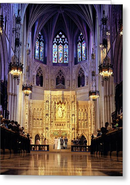 A Wedding Ceremony At The High Altar Greeting Card by Rex A. Stucky