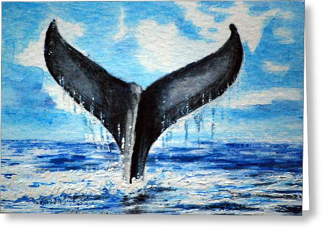 Greeting Card featuring the painting A Whales Tail by Lynn Hughes
