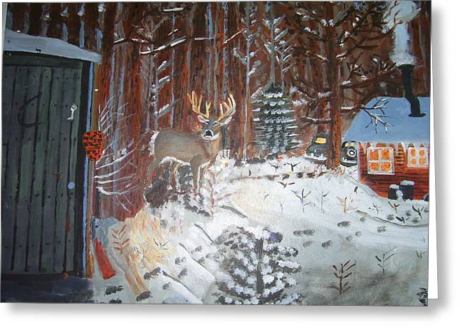 A Whitetail Buck In Back Of Cabin In The Snow Greeting Card