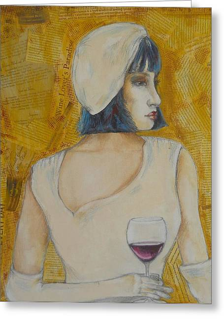 A Wine Tasting Evening Greeting Card by MaryAnn Ceballos